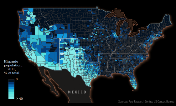 Hispanic Population % 2011 (US Total) Inverted 2
